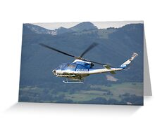 Police helicopter patrolling Greeting Card