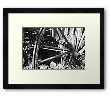 Carriage Wheel with Wire Framed Print