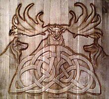 Irish Elk & Wolves by John Darren Sutton