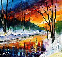 Winter Sunset - original oil painting on canvas by Leonid Afremov by Leonid  Afremov