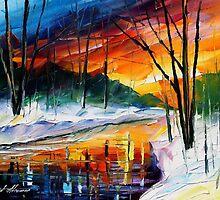 Winter Sunset - original oil painting on canvas by Leonid Afremov by Leonid  Afremov