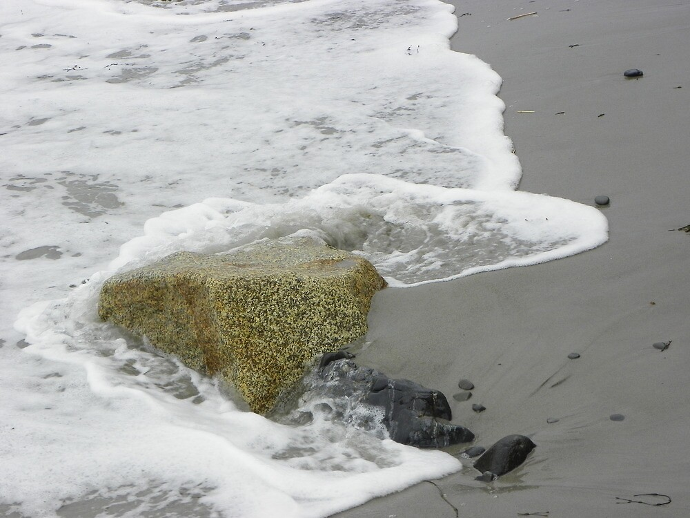 wave washing over a rock, Kennebunk, Maine by irmajxxx