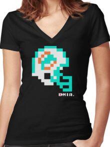 Tecmo Bowl - Miami - 8-bit - Mini Helmet shirt Women's Fitted V-Neck T-Shirt