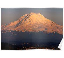 Mt. Rainier at Sunset Poster
