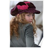 Girl with pink cap Poster