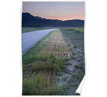 Road to the Kamnik Alps at dawn, Slovenia. Poster