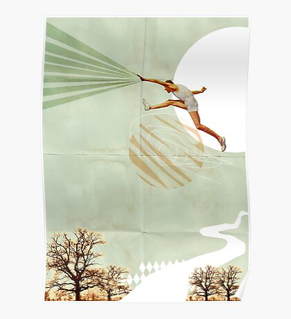 You can do it, Fine Art Collage Illustration, Athlete jumping Poster