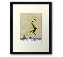 Summer -Fine Art Collage Illustration, Woman in Bathing Suit Jumping Into Sea Framed Print