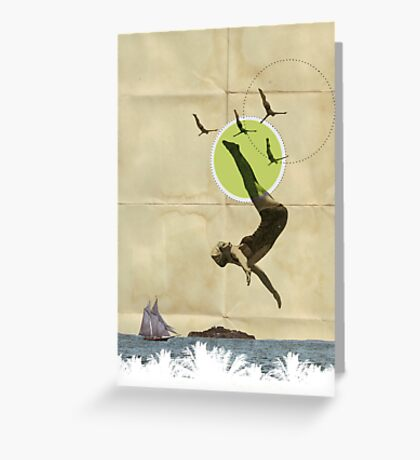 Summer -Fine Art Collage Illustration, Woman in Bathing Suit Jumping Into Sea Greeting Card