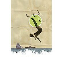 Summer -Fine Art Collage Illustration, Woman in Bathing Suit Jumping Into Sea Photographic Print