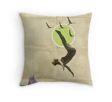 Summer -Fine Art Collage Illustration, Woman in Bathing Suit Jumping Into Sea Throw Pillow
