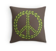 Brown and Green Peace Sign with Leaves Throw Pillow
