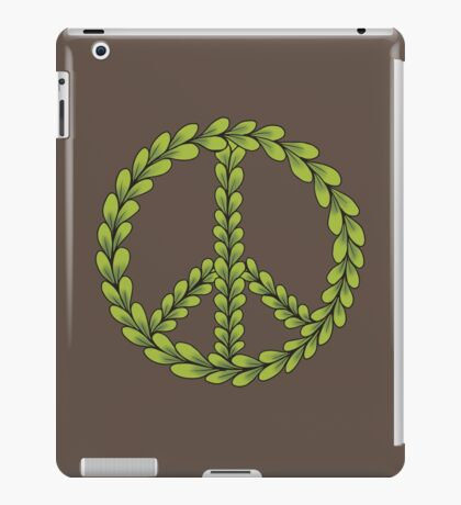 Brown and Green Peace Sign with Leaves iPad Case/Skin
