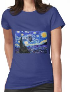 Starry Night Inspiration Doctor Who Tardis Products Womens Fitted T-Shirt