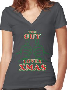 This Guy Loves Xmas Women's Fitted V-Neck T-Shirt