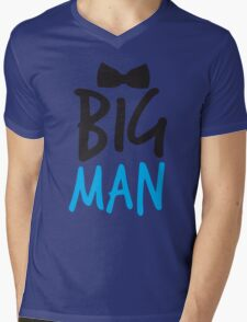 BIG MAN with bow tie cute blue bossy Mens V-Neck T-Shirt