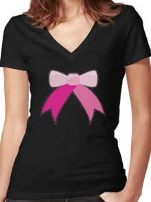 BOW ribbon ribbons Women's Fitted V-Neck T-Shirt