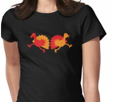 Two red and orange Turkies Womens Fitted T-Shirt