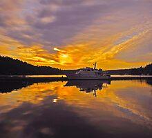 Misty Morning Sunrise Yacht by Ellen  Holcomb