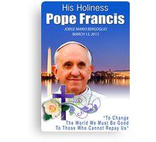 Pope Francis Headshot 7 Canvas Print