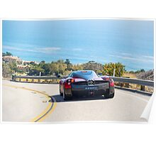 Red Pagani Huayra driving through the Malibu Hills Poster