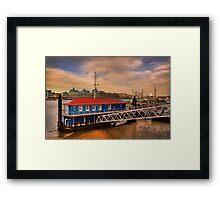 Sunset over Thames river Framed Print