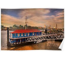 Sunset over Thames river Poster