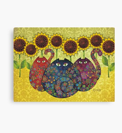 Cats With Sunflowers Canvas Print