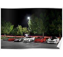 Supercar Lineup featuring Ferrari, Lamborghini, and Mercedes Poster