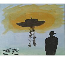 man in black looks at ufo Photographic Print
