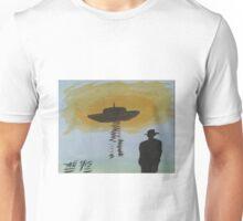 man in black looks at ufo Unisex T-Shirt