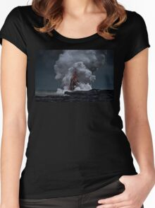 Kilauea Volcano at Kalapana 2a Women's Fitted Scoop T-Shirt