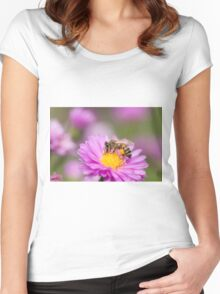 Honeybee on a pink flower Women's Fitted Scoop T-Shirt