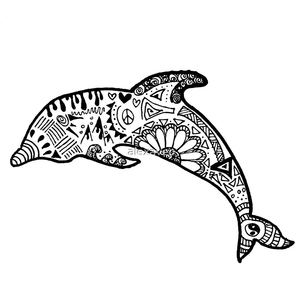 Quot Dolphin Zentangle Quot By Alexavec Redbubble