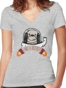 SPACE PUPPY HAZ A ROCKET! Women's Fitted V-Neck T-Shirt