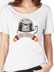 SPACE PUPPY HAZ A ROCKET! Women's Relaxed Fit T-Shirt