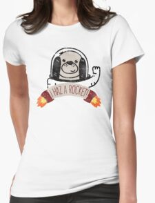 SPACE PUPPY HAZ A ROCKET! Womens Fitted T-Shirt