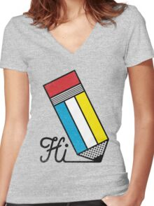 Mondrian: Greeting #2 Women's Fitted V-Neck T-Shirt