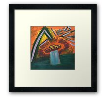 Alien space ship lost in space coming out of water and into oblivion Framed Print