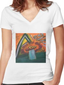 Alien space ship lost in space coming out of water and into oblivion Women's Fitted V-Neck T-Shirt