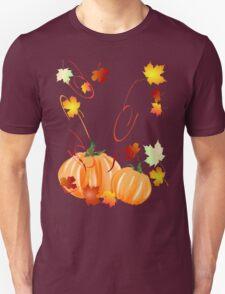 Autumn Leaves-Halloween Pumpkins Unisex T-Shirt