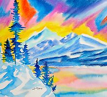 mountain majesty.....watercolor and pastel by Kevin McGeeney