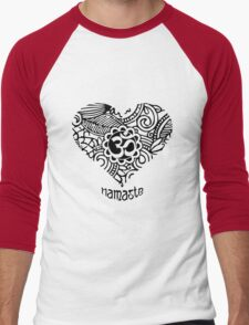 Yoga Heart Namaste Om Men's Baseball ¾ T-Shirt