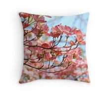 Dogwood Tree Flowering Pink Dogwood Flowers Baslee Throw Pillow