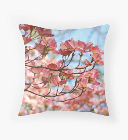 Dogwood Tree Flowering Pink Dogwood Flowers Baslee Throw Pillow