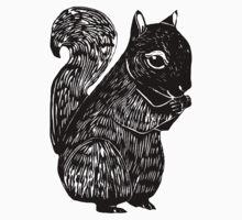 Black Squirrel Printmaking Art with Oak One Piece - Short Sleeve