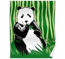 Panda Eating Bamboo Printmaking Art Poster