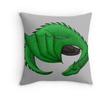 Green Dragon Curled Around Sleeping Cat Throw Pillow