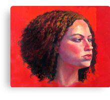 Portrait of Julia on Red Canvas Print