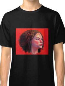 Portrait of Julia on Red Classic T-Shirt